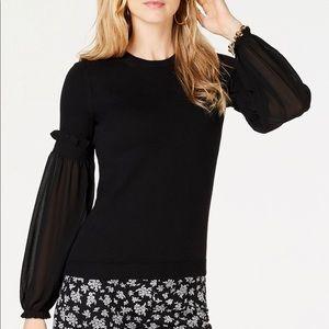 Michael Kors Women's Black Sheer Sleeve Sweater